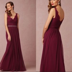 Hithero BHLDN Burgundy Fleur Tulle Gown